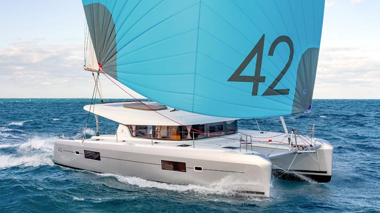 Charter catamaran sailing in Croatia
